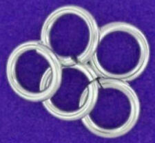 5 STRONG HEAVY STERLING SILVER OPEN JUMP RINGS, 9 MM, 1.1 MM WIRE