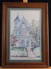 Ava Freeman Watercolor Print Victorian House Signed & Framed