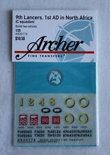 Archer 1/35 M4A1 / M4A2 Sheman Markings 9th Lancers, 1st AD (C) N.Africa AR35174