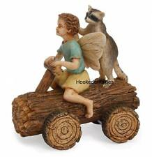 Miniature Fairy Garden Derby Time MG116 Fairy riding a Log Car with Raccoon