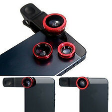 3in1 Fish Eye+ Wide Angle + Macro Camera Clip-on Lens Universal For Phone Red CA