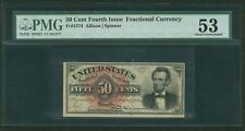 "1869-75 50 CENT FRACTIONAL CURRENCY ""LINCOLN"" FR1374 CERTIFIED PMG ABOUT UNC.-53"