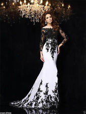 White&Black Lace Long-sleeve Prom Evening Party Pageant dress Wedding dresses