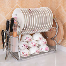 2 Tier Chrome Plate Dish Cutlery Drainer Rack Drip Tray Plates Board Holder New