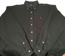 NICE Ralph Lauren Polo THICK 100% WOOL button up shirt Large Green USA Made VTG