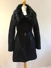 Karen Millen Quilted Black Puffer Padded Fur Collar Coat Size 8