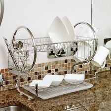 Stainless Kitchen Dish Cup Drying Rack Holder Sink Drainer 2 Tier Dryer SA