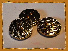 LOT 5 BOUTONS  Décor doré * 18 mm * 2 trous * Fantaisie button  1,8 cm gilt