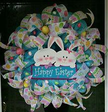 Spring, Easter Bunny, Easter Eggs, Happy Easter,  Deco Mesh Door Wreath