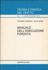 DIRITTO CORSARO BOZZI MANUALE DELL'ESECUZIONE FORZATA 1987 - DROIT DIREITO