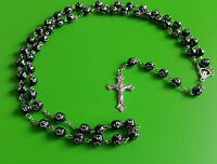 Catholic round long  black rosary beads necklace