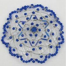 BLUE GLASS BEAD HEADCOVER WOMEN'S KIPPAH  Yarmulkes