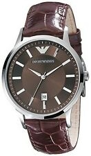 Emporio Armani Men's Classic AR2413 Brown Leather Quartz Watch