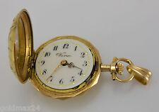 VENUS Halsketten-Uhr - Anhänger m Diamanten / Handaufzug / 585er 14 Karat Gold