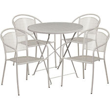 30''Round Light Gray Indoor-Outdoor Folding Patio Restaurant Table Set w/4 Chair
