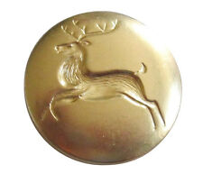 "**6ea CHRISTMAS*-OL'SANTA""S REINDEER 1 1/8"" SANTA BUTTONS BRIGHT BRASS FINISH**"
