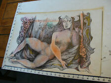 Vintage art by ROBERT MOIR: in pen--signed nude lady w/ quote from Bhagavad-Gita