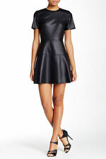 NWT Necessary Objects Faux Leather Fit & Flare Little Black Dress - sizes:XS