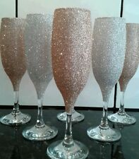 glitter wine/ champagne glass set of six