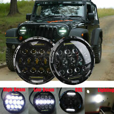 Pair 7'' inch H/L Beam 75W LED Headlight with DRL For JEEP Wrangler JK Hummer