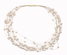 Demure White Unblemished Pearl Strands & Easy Lock Necklace(Zx215)