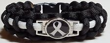 Lung Cancer Awareness White Ribbon Black with White Line Paracord Bracelet
