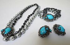 VINTAGE MIRIAM HASKELL SIGNED BARQ PEARL, CRYSTAL AND TOURQUOISE FULL PARURE
