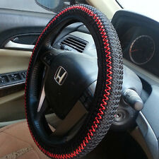 Black/Red Elastic Ice Silk DIY Car Steering Wheel Cover Sets 36-38CM Best Gifts