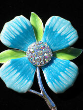 BLUE TEAL GREEN AB RHINESTONE STEM PLANT GARDEN DOGWOOD DAISY FLOWER PIN BROOCH