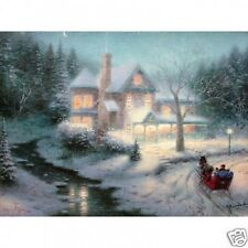 Thomas Kinkade MOONLIT SLEIGH RIDE 9X12 CNV *ALSO GET A FREE TK LIMITED EDITION