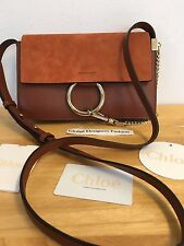New 100% Authentic Chloe Classic Tobacco Suede & Smooth Calfskin Shoulder Bag