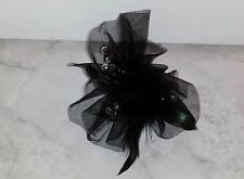 Black Peacock Feather Tulle Silver Beads Hair Clip (New Without Tags)