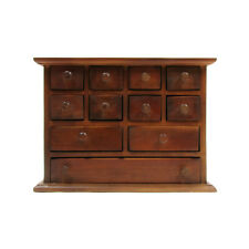 11 Drawer Wood Apothecary Chest Spice Cabinet Jewelry/Utility Storage Organizer