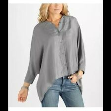 NWT $138 PUMA by HUSSEIN CHALAYAN SILK BUTTON DOWN HI LOW BATWING SHIRT XS FENTY
