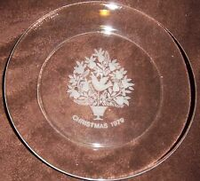 CHRISTMAS GLASS CRYSTAL PARTRIDGE TREE FRENCH ARCO ROC PLATE 1979 - 8""