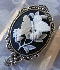 Butterfly Flower Spring Summer Cameo ID Badge Name Tag Key Holder Reel Lanyard