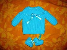 BEBE brassiere bébé tricotée main turquoise  chaussons