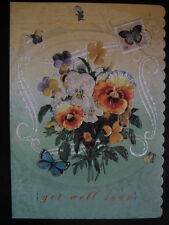 Carol Wilson Get Well Soon Card Pansy Pansies Glitter Embossed Diecut