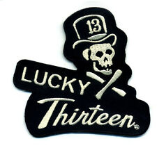 lucky 13 patch skull tophat hot rod rockabilly motorcycle tattoo biker punk goth