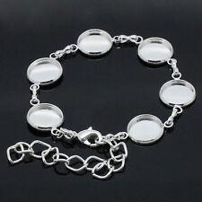 Bracelets avec Supports Rond pour cabochon Fermoir Mousqueton 16cm++++