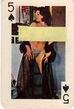 5 CINQUE di Picche Gaiety Brand 54 Nude Models Color  Playing Cards 1960's