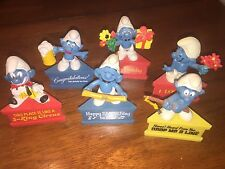 Lot of 6 Smurfs SMURF A GRAMS! Birthday, Fishing, Circus, Beer, Smurfday, Love