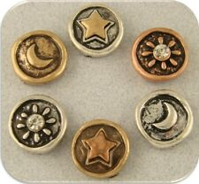 Beads Sun Moon Stars Heavenly 3T Metal Silver Copper Gold ~ 2 Hole Sliders QTY 6