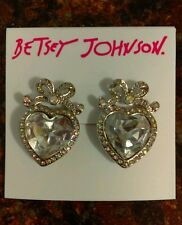 "Authentic Betsey Johnson ""Stone & Pearl"" Crystal Heart Bow Earrings $30 Sold Out"
