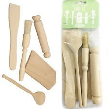 Kids Baking Set APOLLO 5 Pcs Kit Rolling Pin Spoon Spatula Wooden Kitchen Tools