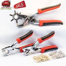 Eyelet Plier Leather Punch Snap Hand Tool Set Kit Round Hole Belt Press Stud USA