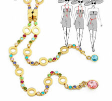 Austria Crystal Rhinestone Multicolor Gold Plated Long Chain Necklace Jewelry
