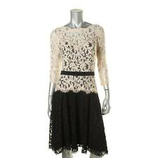 Tadashi Shoji 0327 Womens Black Lace Colorblock Cocktail Dress 12 BHFO