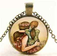Vintage Mother and daughter best friends Cabochon Glass Bronze Necklace#13