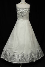 Eternity Bridal D505 Ivory Silver & Black Big Train Beaded Wedding Dress 8 R368